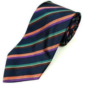 Brioni 100% Italian Silk Blue Jacquard Stripe Ties